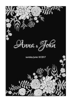 Invitation de mariage noir et blanc. modèle de carte de voeux vintage. cadre de bordure florale ranunculus succulente. illustration vectorielle de broderie fleur