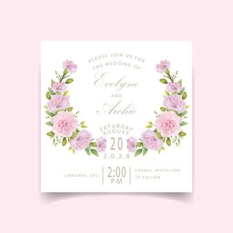Invitation de mariage oeillets floraux roses