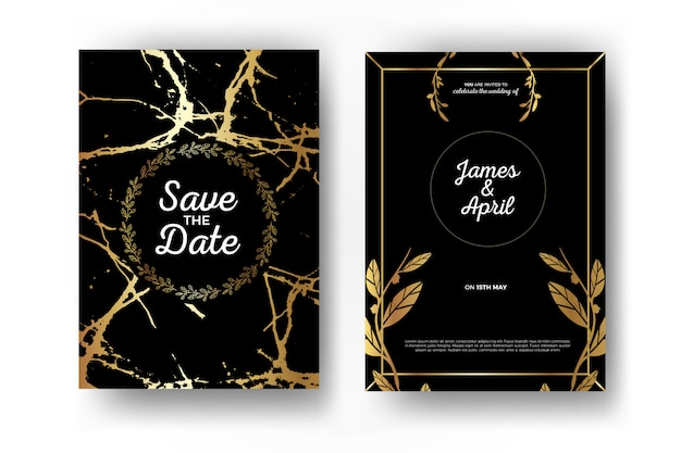Invitation de mariage en or