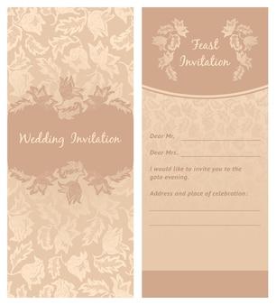 Invitation de mariage, ornement de fleurs, fond