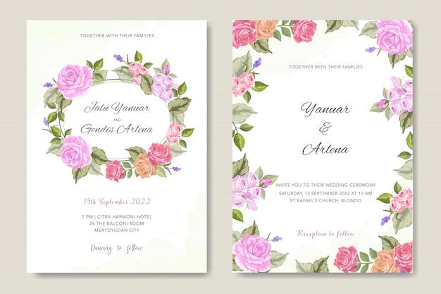 Invitation de mariage avec ornement floral