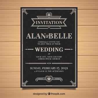 Invitation de mariage avec des ornements dans le style vintage