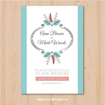 Invitation de mariage avec des ornements en devenir