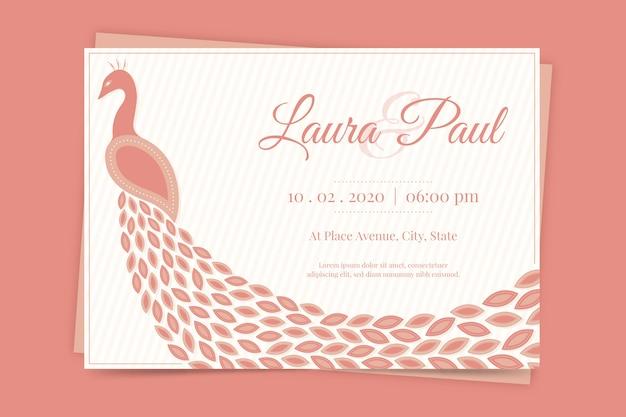 Invitation de mariage avec un paon