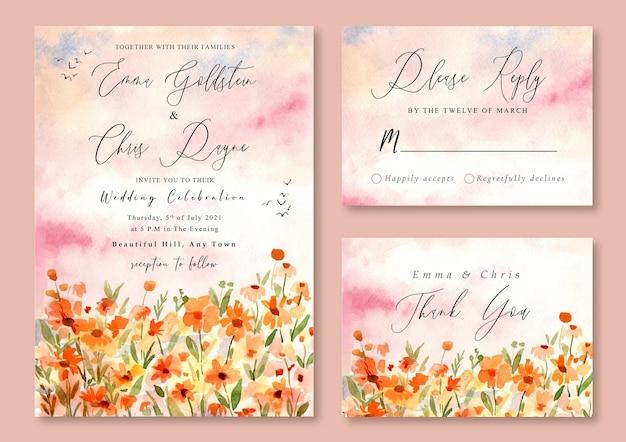 Invitation de mariage avec paysage aquarelle de champ floral