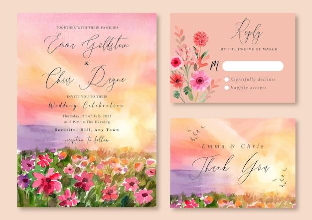 Invitation de mariage avec paysage aquarelle de coucher de soleil rose