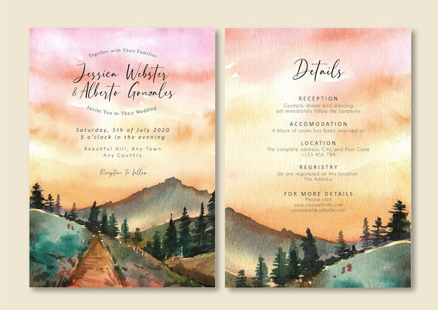 Invitation de mariage de paysage aquarelle de montagne rose ciel coucher de soleil et pin