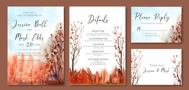 Invitation de mariage avec paysage aquarelle de pins d'or