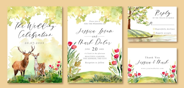 Invitation de mariage avec paysage de cerf romantique dans le jardin