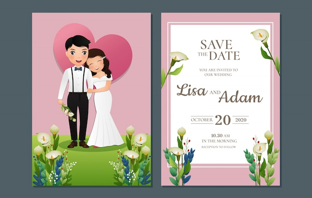 Invitation de mariage le personnage de dessin animé de couple mignon mariée et le marié.