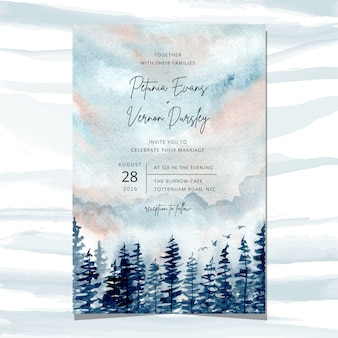 Invitation de mariage avec des pins