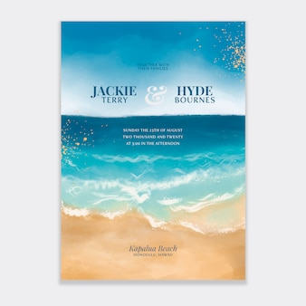 Invitation de mariage de plage aquarelle