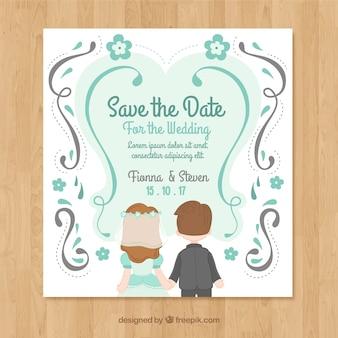 Invitation de mariage plat avec un couple