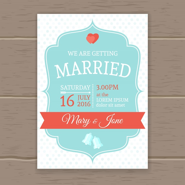 Invitation de mariage plat