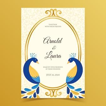 Invitation de mariage avec des plumes de paon