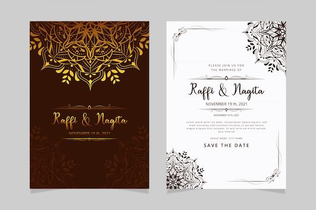 Invitation de mariage premium avec mandala de dessin à la main