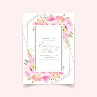 Invitation de mariage ranunculus magnolia anémone fleurs