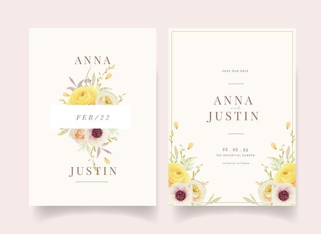 Invitation de mariage avec des renoncules aquarelles roses et des fleurs d'anémone