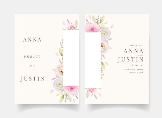 Invitation de mariage avec renoncules roses aquarelles et dahlia