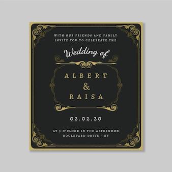 Invitation de mariage rétro modèle