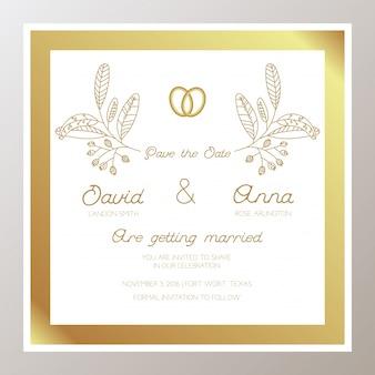 Invitation de mariage romantique avec des anneaux d'or