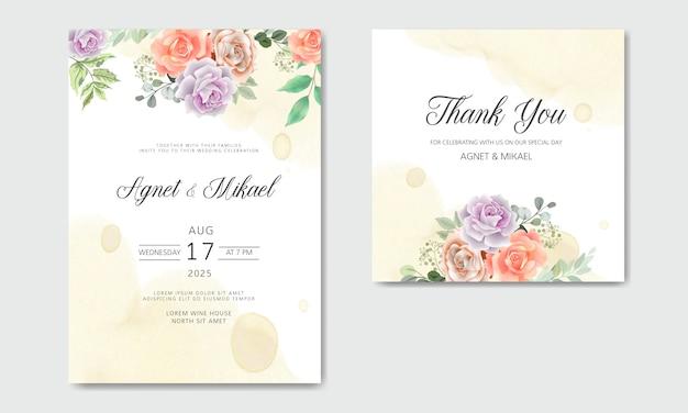Invitation de mariage romantique avec de beaux thèmes de fleurs