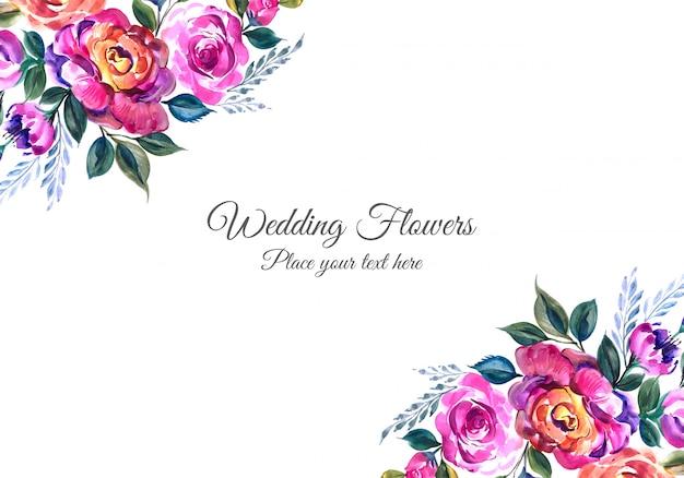 Invitation de mariage romantique avec des fleurs colorées