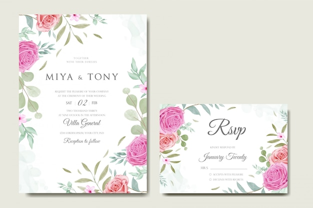 Invitation de mariage romantique avec floral coloré et feuilles