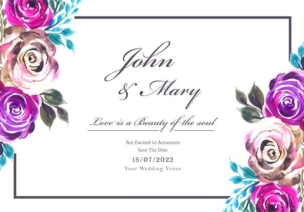Invitation de mariage romantique avec fond de carte de fleurs colorées