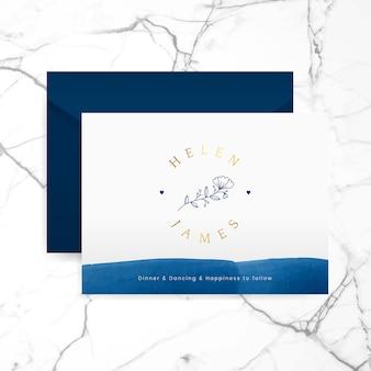 Invitation de mariage romantique avec vecteur d'enveloppe