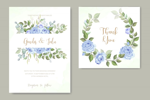 Invitation de mariage avec rose bleue