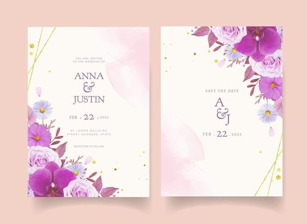 Invitation de mariage avec rose pourpre aquarelle et orchidée