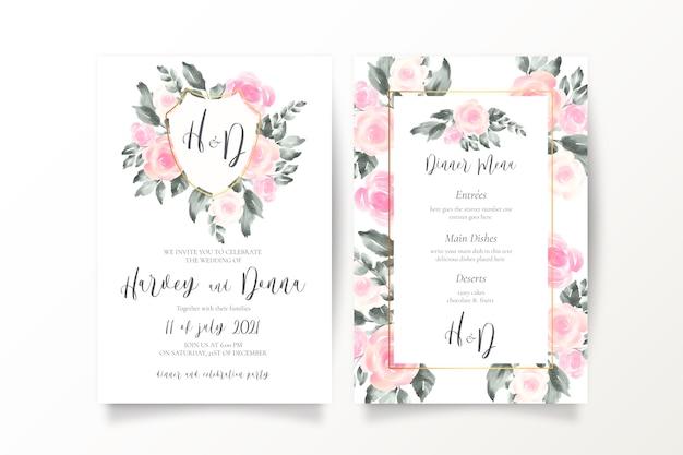 Invitation de mariage rose tendre et modèle de menu