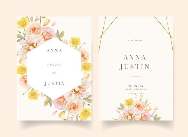 Invitation de mariage avec des roses aquarelles et dahlia
