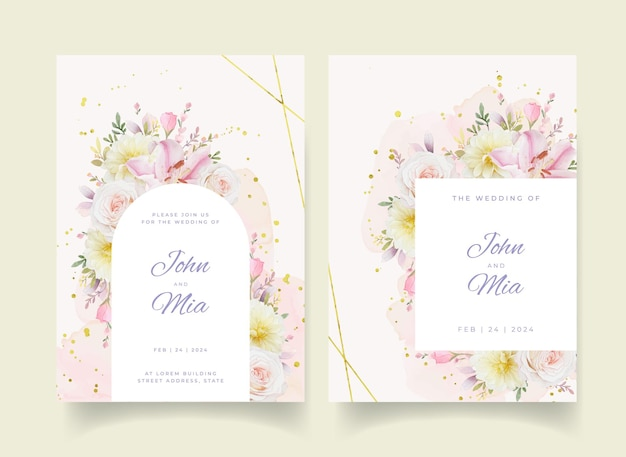 Invitation de mariage avec des roses aquarelles fleur de lys et de dahlia