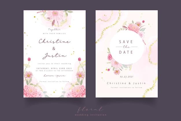 Invitation de mariage avec des roses aquarelles, des fleurs de dahlia et de gerbera