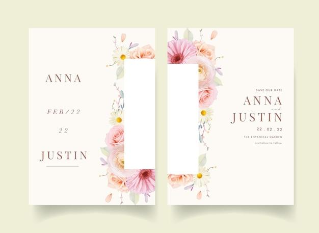 Invitation de mariage avec des roses aquarelles et gerbera