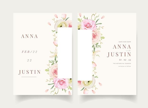 Invitation de mariage avec des roses aquarelles et renoncules