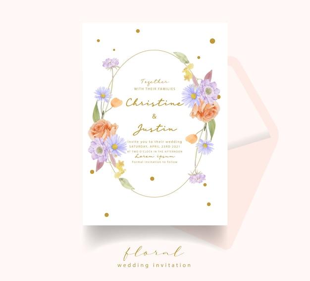 Invitation de mariage avec des roses aquarelles, des tulipes et des fleurs de scabiosa