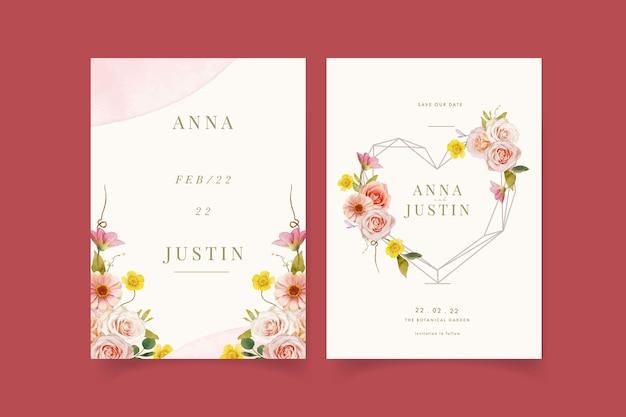 Invitation de mariage avec des roses aquarelles et zinnia