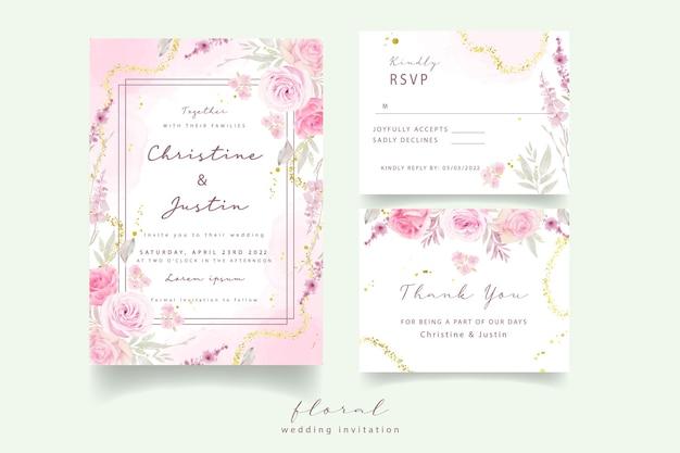 Invitation de mariage avec des roses aquarelles