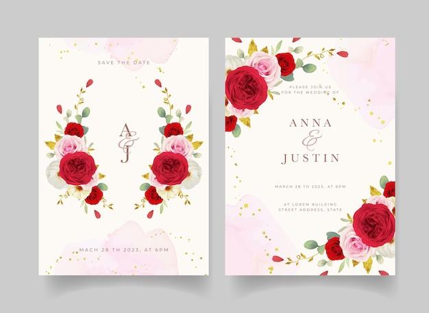 Invitation de mariage avec des roses blanches et rouges aquarelles
