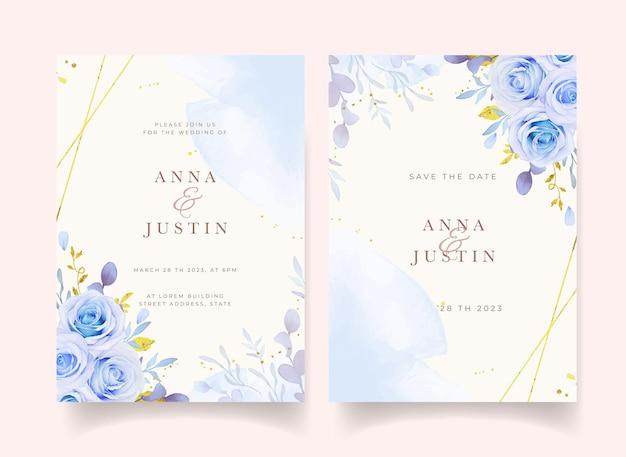 Invitation de mariage avec des roses bleues aquarelles