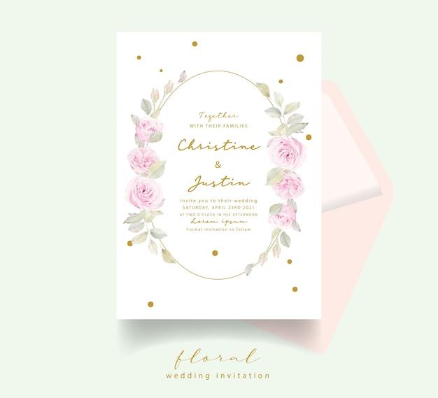 Invitation de mariage avec des roses florales aquarelles