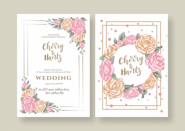 Invitation de mariage de roses florales vintage