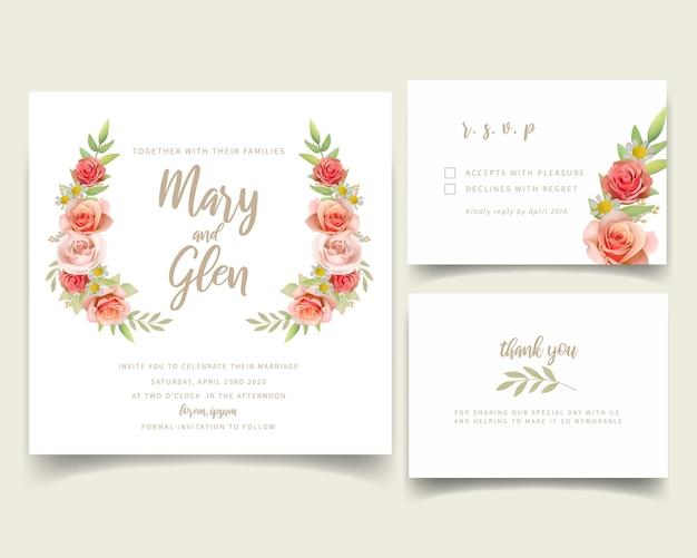 Invitation de mariage avec des roses florales