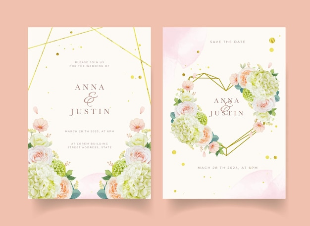Invitation de mariage avec des roses de pêche aquarelles et une fleur d'hortensia
