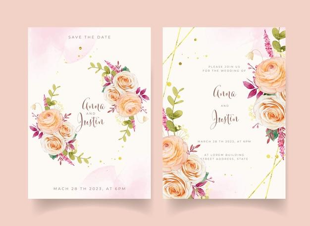 Invitation de mariage avec des roses et des renoncules
