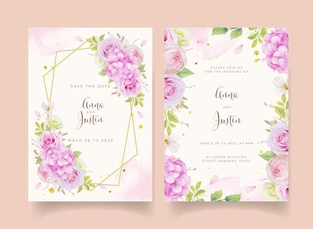 Invitation de mariage avec des roses roses aquarelles et une fleur d'hortensia