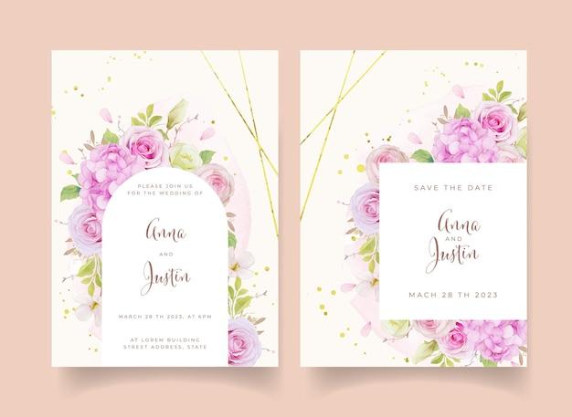 Invitation De Mariage Avec Des Roses Roses Aquarelles Et Une Fleur D'hortensia Vecteur gratuit